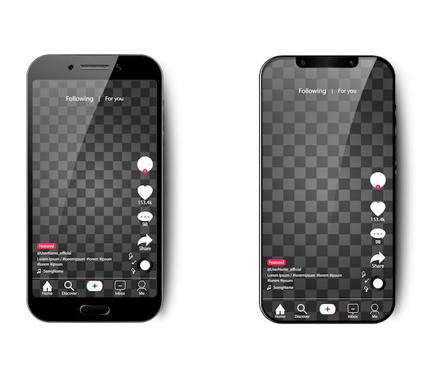 孤立した背景にスマートフォン用のtik tokインターフェース Premiumベクター