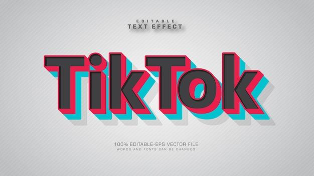 Текстовый эффект tik tok Бесплатные векторы