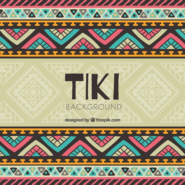 tiki background with colorful tribal design vector free