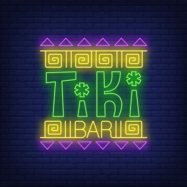 Tiki bar neon text with ethnic ornament Free Vector