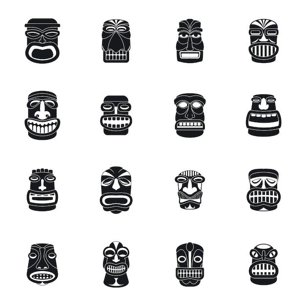 Tiki idol aztec hawaii icons set Premium Vector