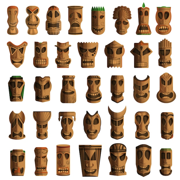 Tiki idols icon set. cartoon set of tiki idols vector icons for web design Premium Vector