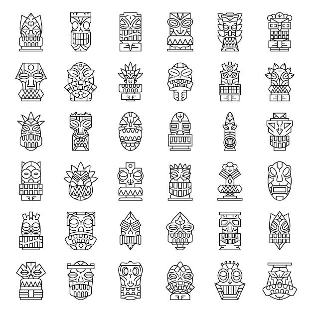 Tiki idols icon set. outline set of tiki idols vector icons Premium Vector