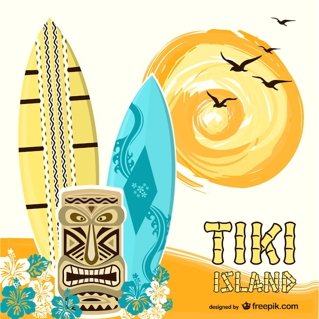 Tiki island background with surf boards Free Vector