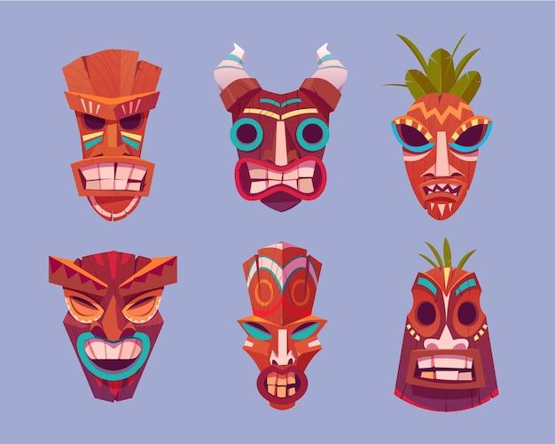 Tiki masks set Free Vector