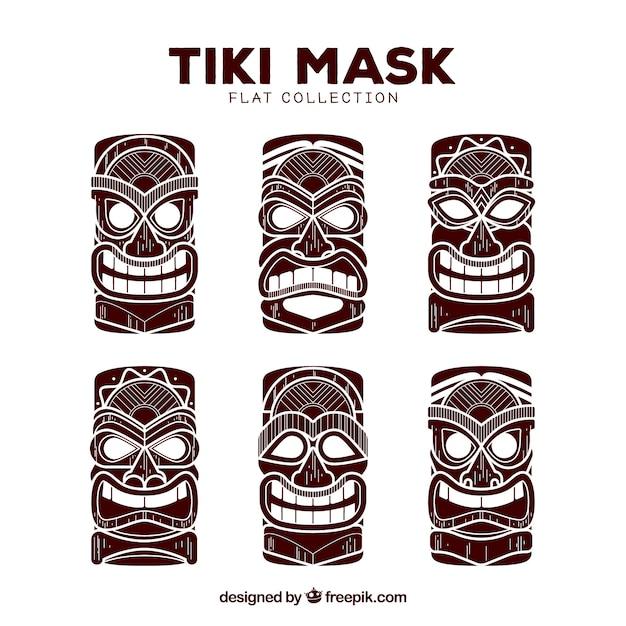 Коллекция маски tiki Бесплатные векторы