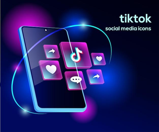 スマートフォンのシンボルとtiktiokソーシャルメディアアイコン Premiumベクター