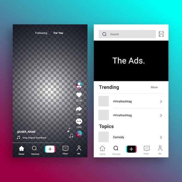 Collezione di interfacce per app tiktok Vettore gratuito