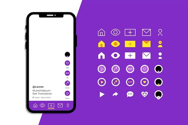 Tiktokアプリインターフェイスとアイコンパック 無料ベクター
