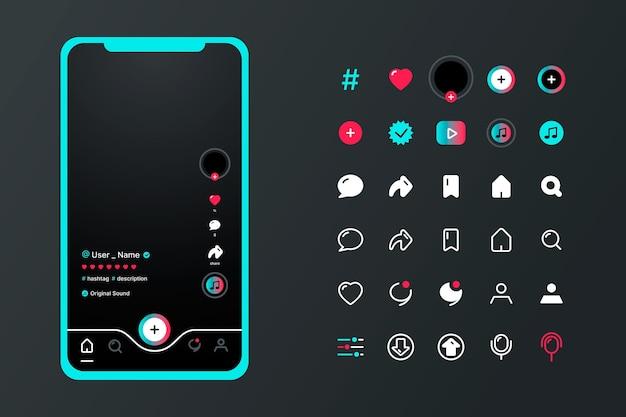 Tiktok app interface with icons set Free Vector