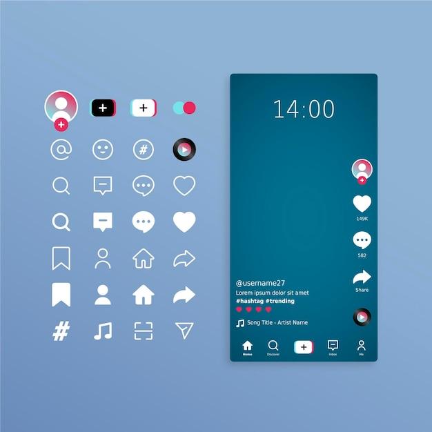 Tiktok interface concept Free Vector