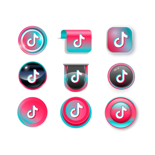 Tiktok logo collection Free Vector