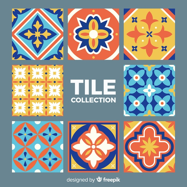 Tile collection of eight Free Vector