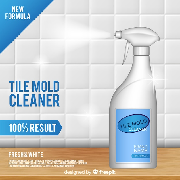 Tile Mold Cleaner Advertisement Background Free Vector