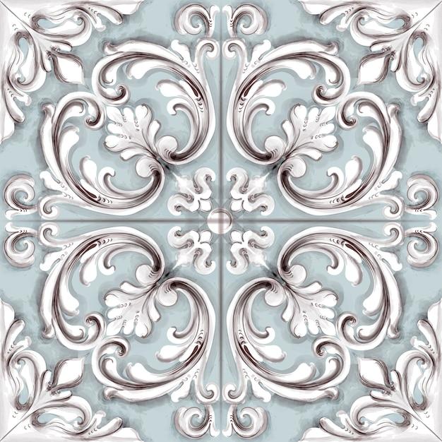 Tile or mosaic ornament watercolor Premium Vector