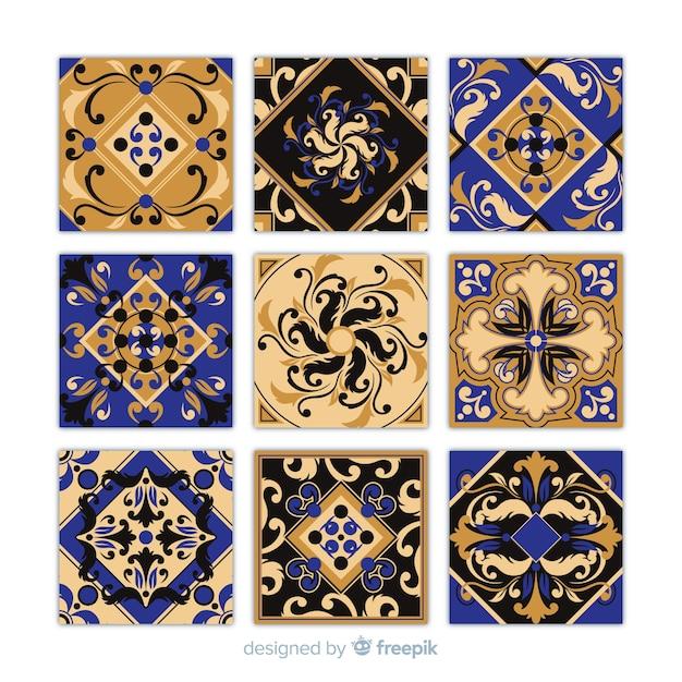 Tile pack in flat design Free Vector