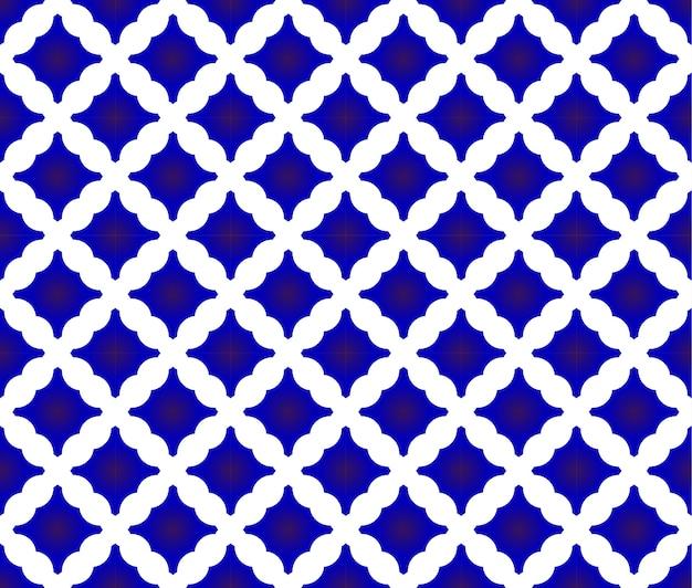 Tile pattern, blue and white ceramic design, porcelain seamless background Premium Vector