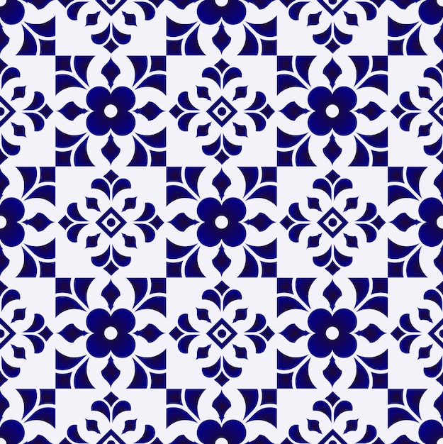 Tile pattern, ceramic blue and white flower seamless background, beautiful porcelain wallp Premium Vector