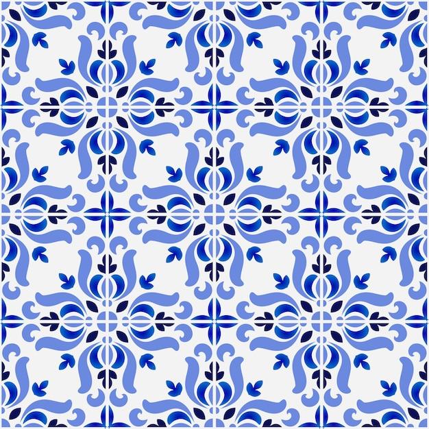 Tile pattern, colorful decorative floral seamless background, beautiful ceramic wallpaper decor vector illustration Premium Vector