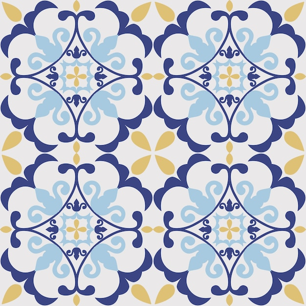 Tile seamless pattern design. with colourful motif Premium Vector