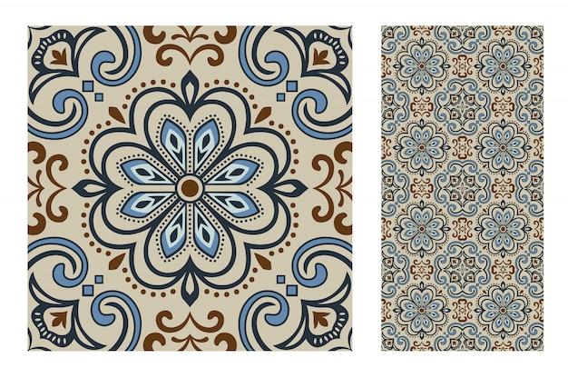 Tiles portuguese patterns antique seamless design Premium Vector