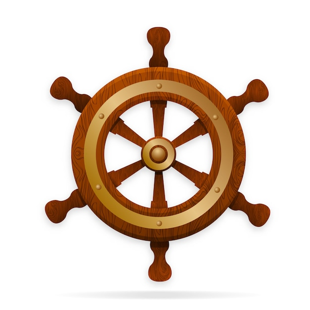 The tiller is the steering wheel of the ship. Premium Vector