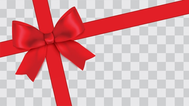 Tilted red ribbon with bow Premium Vector