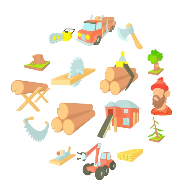 Timber industry icons set, cartoon ctyle Premium Vector