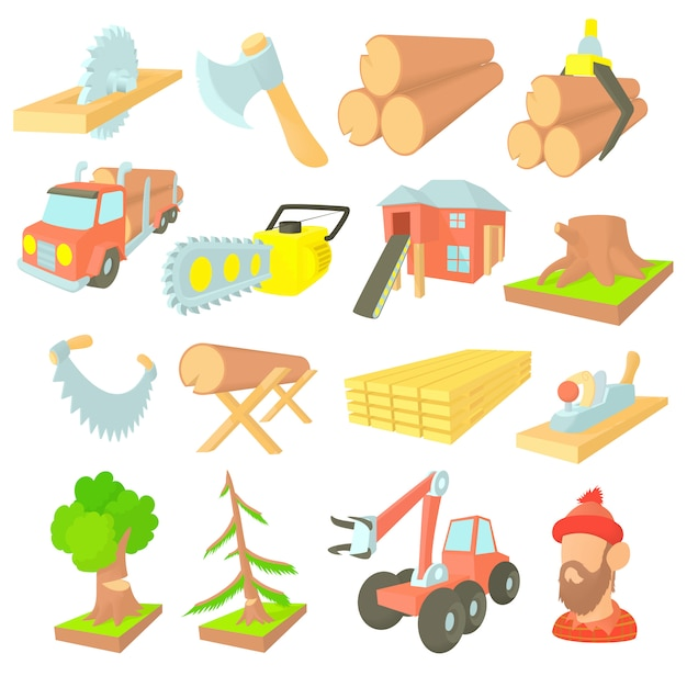 Timber industry icons set in cartoon style Premium Vector