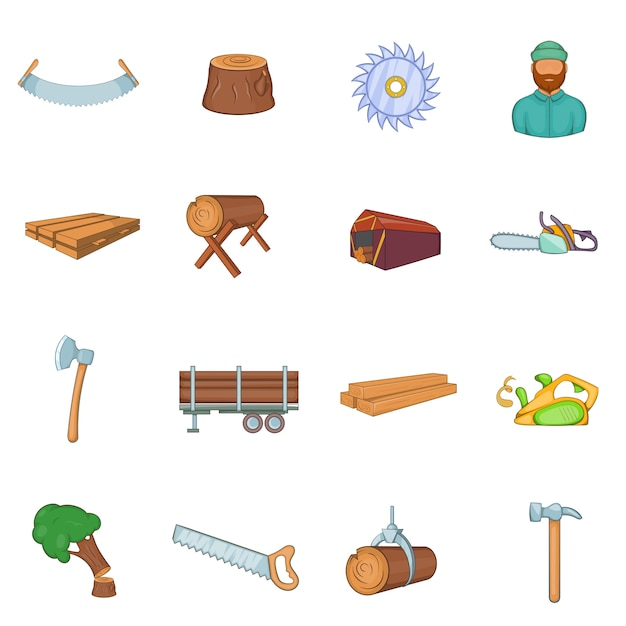 Timber industry icons set Premium Vector