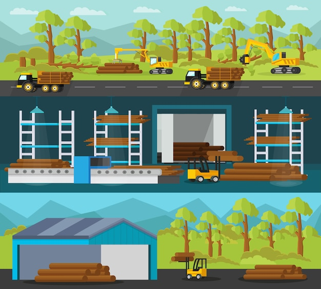 Timber production horizontal banners Free Vector