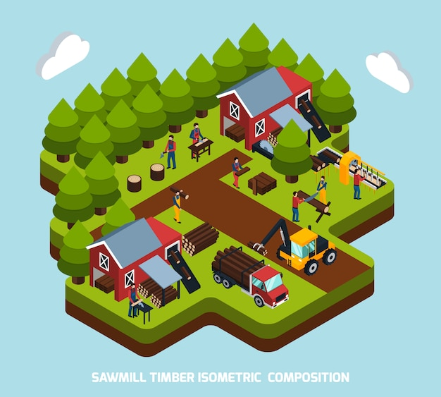 Timber production isometric composition Free Vector