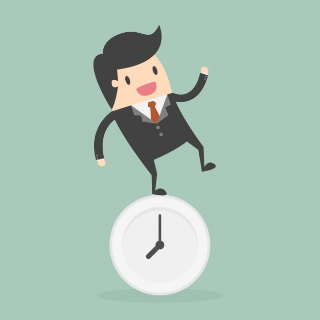 Time administration with employee standing on the clock Free Vector