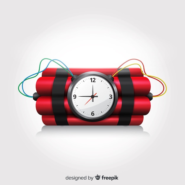 Time bomb realistic design with white background Free Vector