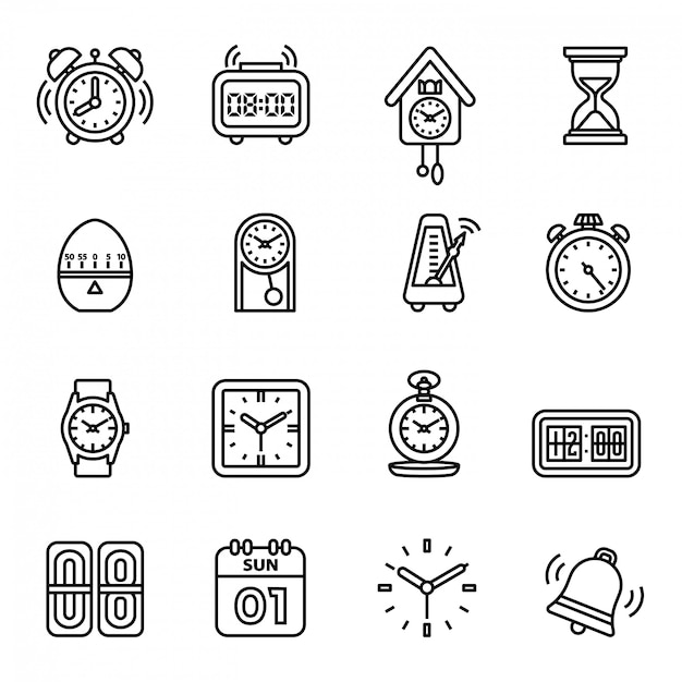 Time and clock icons set Premium Vector