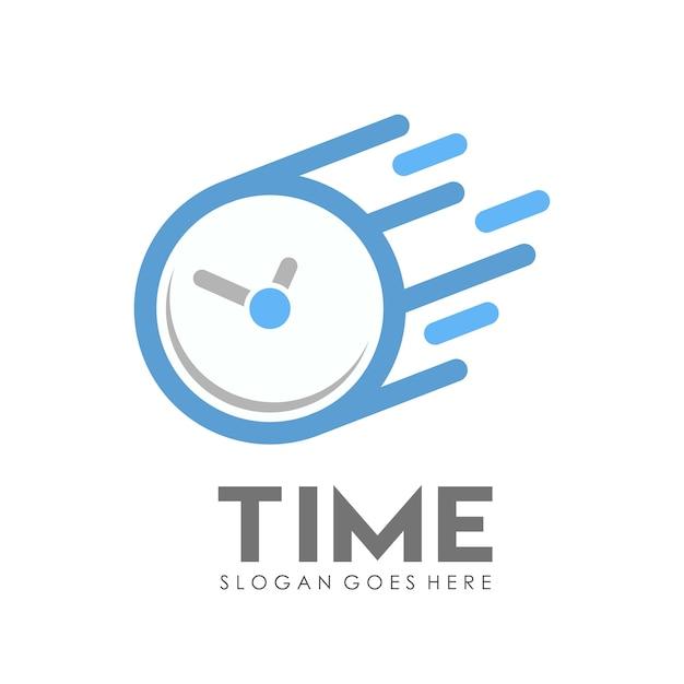 Time clock logo design template Premium Vector