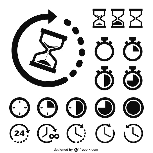 Time and clocks icons Premium Vector