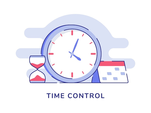 Time control concept clock hourglass calendar Premium Vector