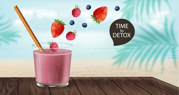 Time to detox banner with old fashioned glass and bamboo straw. berry smoothie with strawberry and blueberry decoration flying. beach and palm leaves on background Free Vector