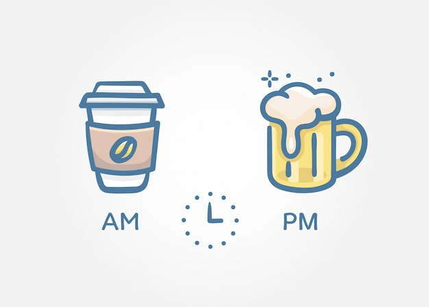 Time to drinks concept Premium Vector
