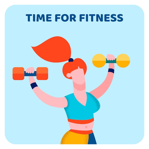Time for fitness Premium Vector