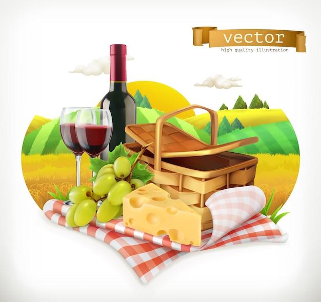 Время для пикника, природа, отдых на природе, скатерть и корзина для пикника, фужеры, сыр и виноград, иллюстрация Premium векторы