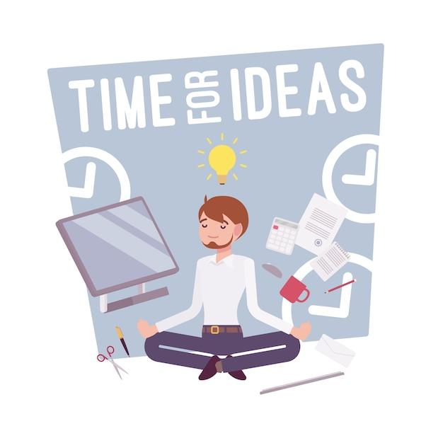 아이디어 포스터를위한 시간 프리미엄 벡터