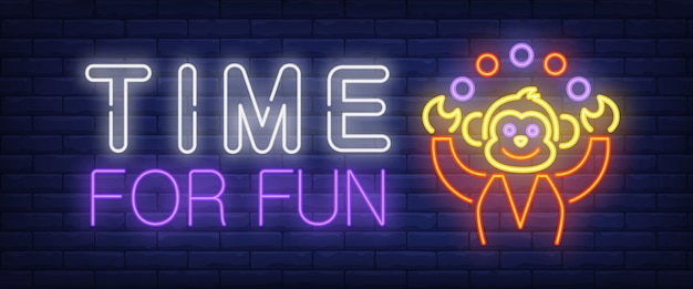 Time for fun neon text with monkey juggling Free Vector