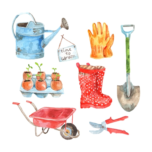 Time to gardening watercolor pictograms composition of watering pot and seedlings to plant Free Vector