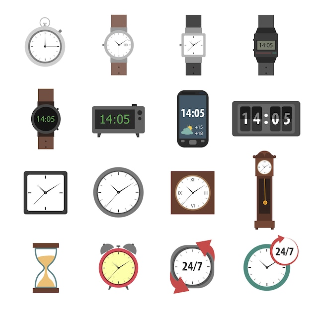 Time icons flat Free Vector