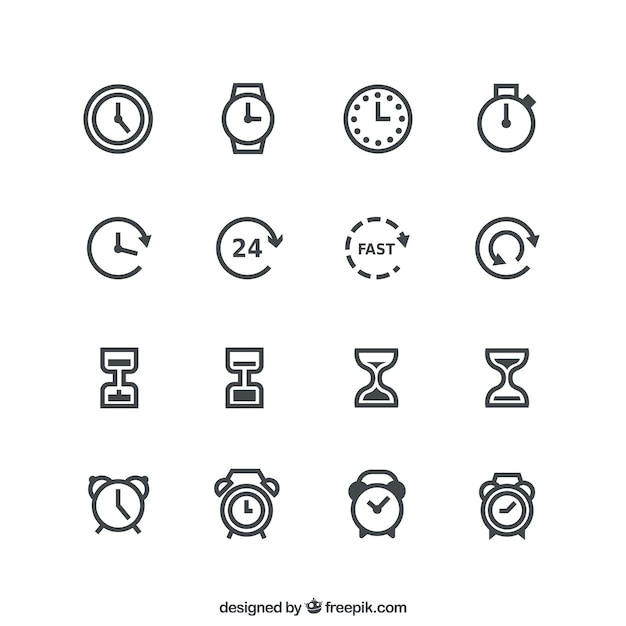 Time icons Free Vector