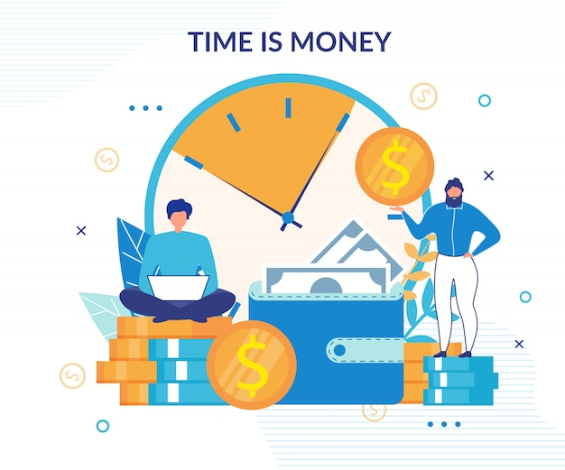 Time is money background Premium Vector