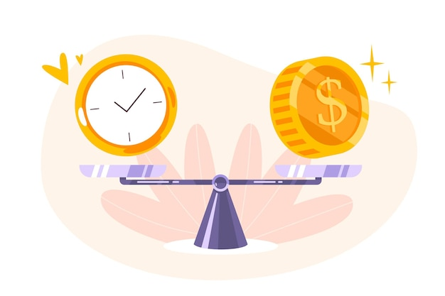 Time is money balance on scale icon. concept of time management, economy and investment. comparison work and value, financial profit. vector flat illustration of coins, cash and watch on seesaw. Free Vector