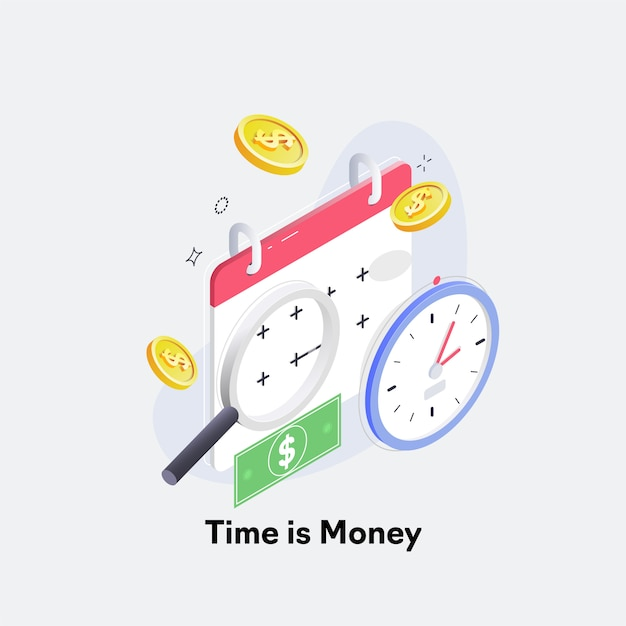 Time is money, business and finance concept Premium Vector